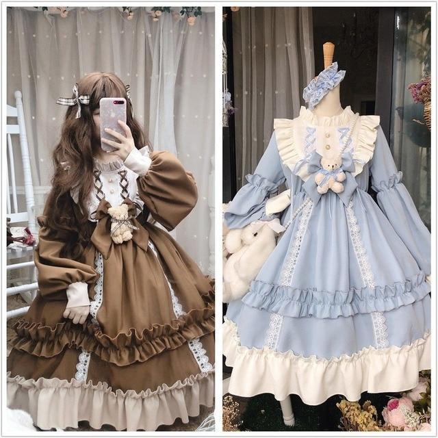 Japanese Gothic Lolita Dress Women Kawaii Bow Bear Lace Blue Dress Long Sleeve Princess Dress Halloween Costume Gift For Girls 5