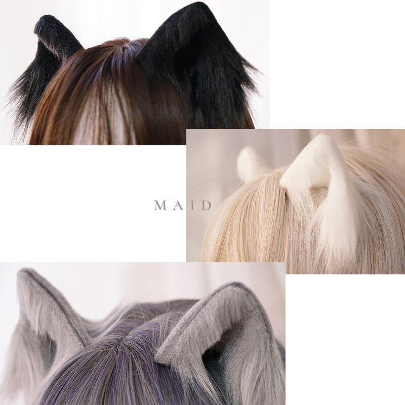 Cute Furry Animal Beast Ears Hairpin Headwear Ear Clip Cosplay Soft Girl Plush Detachable Cat Ear Lolita Hair Accessory Props