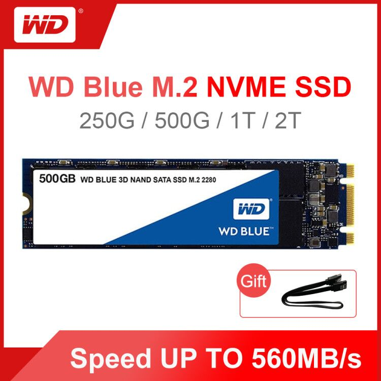 <font><b>WD</b></font> Blue M.2 <font><b>SSD</b></font> 250GB <font><b>500GB</b></font> 1TB 2TB Solid State Drive Hard Disk NGFF Internal M.2 2280 SATA <font><b>ssd</b></font> for PC Laptop Notebook image
