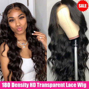 Cheap HD Transparent Lace Frontal Wigs Body Wave Wig 180 Density 28 Inch Wavy Lace Front Human Hair Wigs T Part Brazilian Wigs(China)