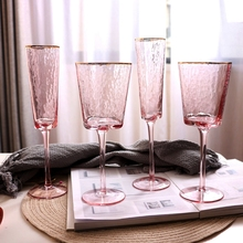 European Crystal wine glass transparent pink grey Goblet champagne glass home drinking glasses Bar Hotel wedding cups