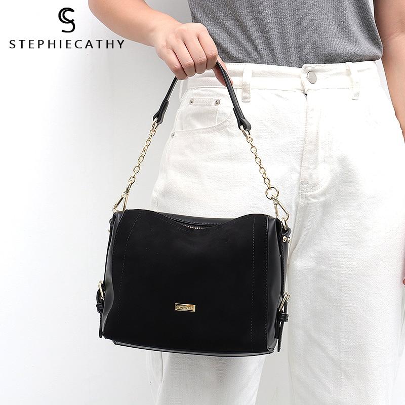 Image 5 - SC Luxury Brand Suede Patchwork Women Bags Soft Nubuck Handbag for Girls Chain Shoulder Bag Ladies Hobo Crossbody Messenger BagsShoulder Bags   -