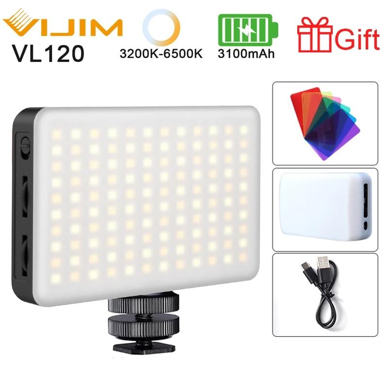 Ulanzi VIJIM VL120 LED Video Camera Light 3200k-6500K Dimmable Studio Lamp Vlog Fill Light W RGB Color Filter Softbox Diffuser 1