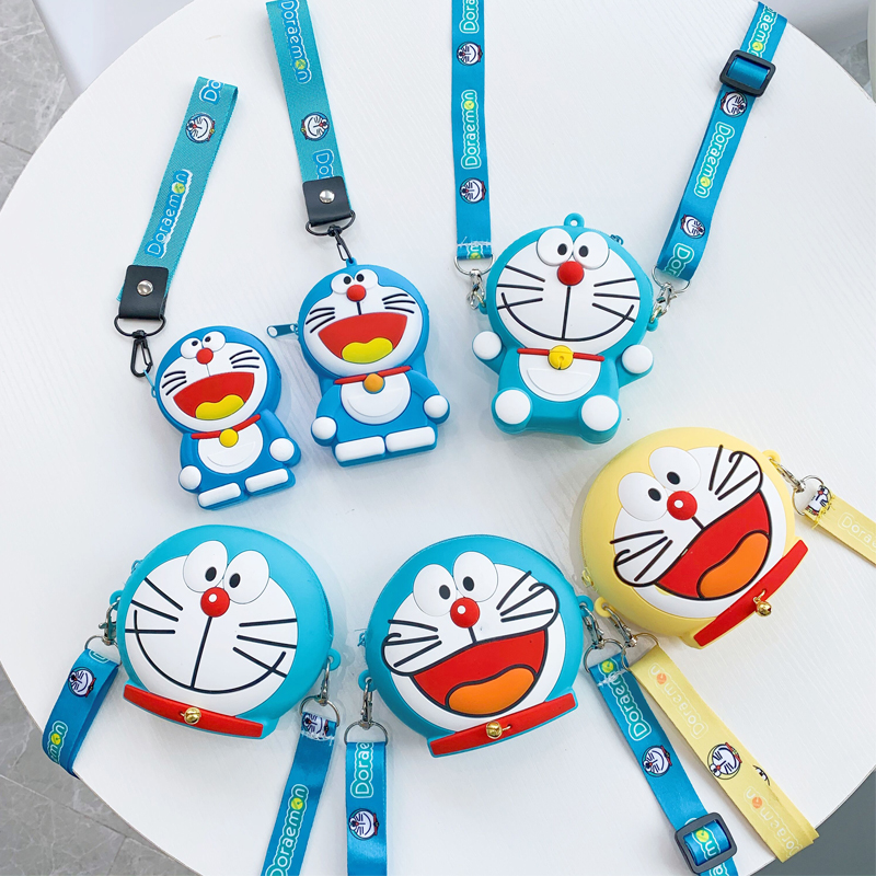 Cute Silicone Women's Bags Cartoon Doraemon Parent-Child Shoulder Bags Kids Portable Mini Coin Wallet Fashion Clutch Handbags