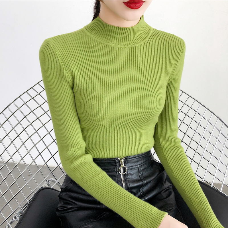 2019 Autumn Winter Women Pullovers Sweater Knitted Elasticity Casual Jumper Fashion Slim Turtleneck Warm Female Sweaters 9011