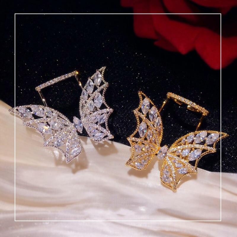 Anéis para mulher s925 prata esterlina borboleta anel aberto atmosfera requintada zircónio cúbico asa índice dedo jóias finas anel