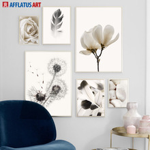 Black White Dandelion Feather Rose Flower Wall Art Canvas Painting Nordic Posters And Prints Pictures For Living Room Decor