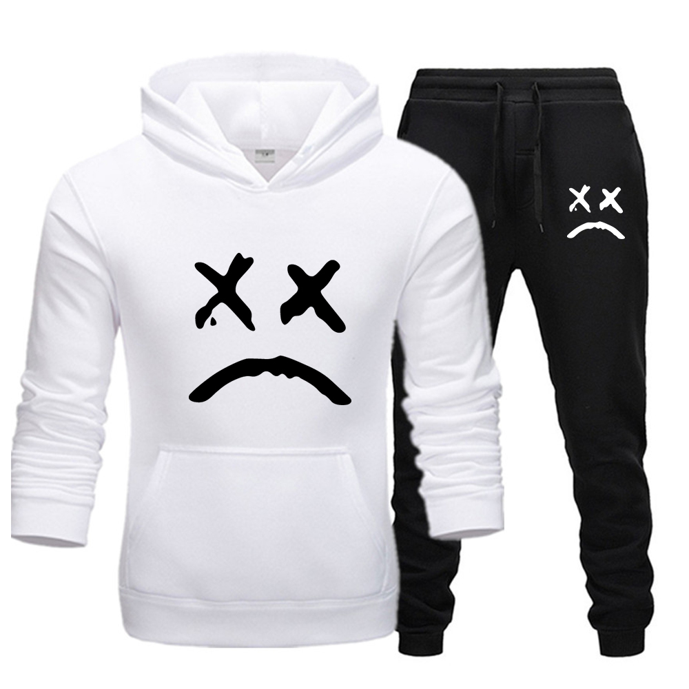 New Fashion Hoodie 2020 Men's Sports Funny Cute Sweatshirt+sports Pants Set Casual Long Sleeve Thick Clothing Set With Men Set