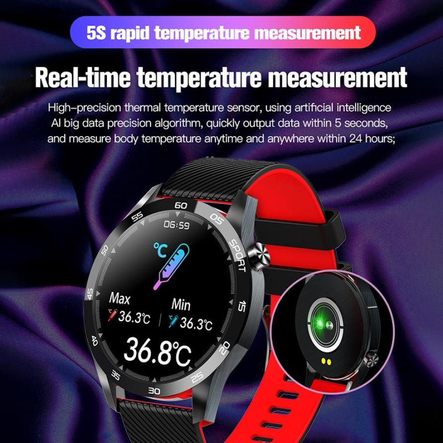 Body Temperature Smart Watch Heart Rate Monitor Health Tracker Weather Forecast Silicone Strap Pedometer Sport Smart Bracelet (6)