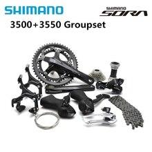 Shimano SORA 3500 3550 Road Bike 2x9 Speed Groupset Crankset 170mm 50/34T With BB4600 18s Bike Parts Cassette 11 25T Group