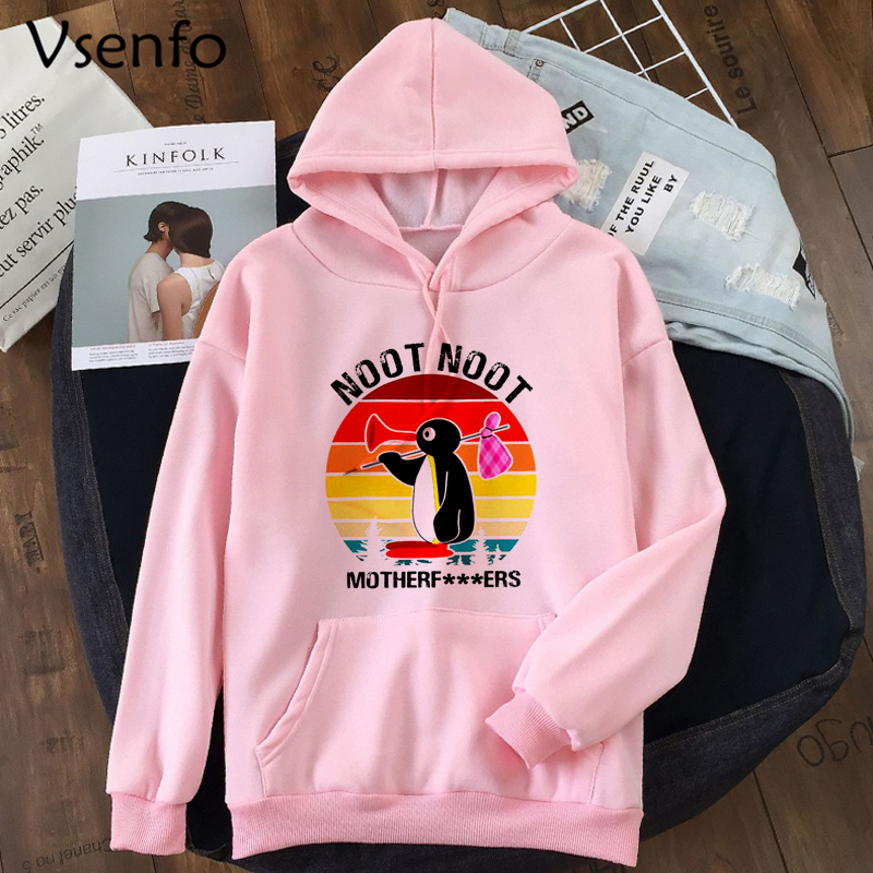 Women's Hoodies Funny Print Noot Noot Pingu Sweatshirt Casual Spring Autumn Hooded Harajuku Pullover Cute Catoon Clothes