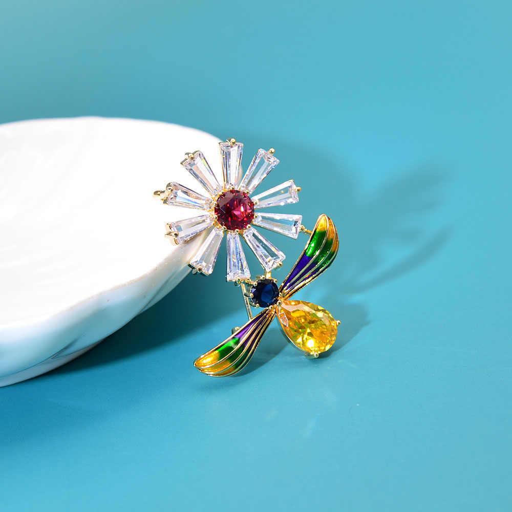 シンディxiang美しいキュービックジルコニアミツバチと花のブローチ昆虫ピン高級ファッションジュエリーエナメルピンbadage