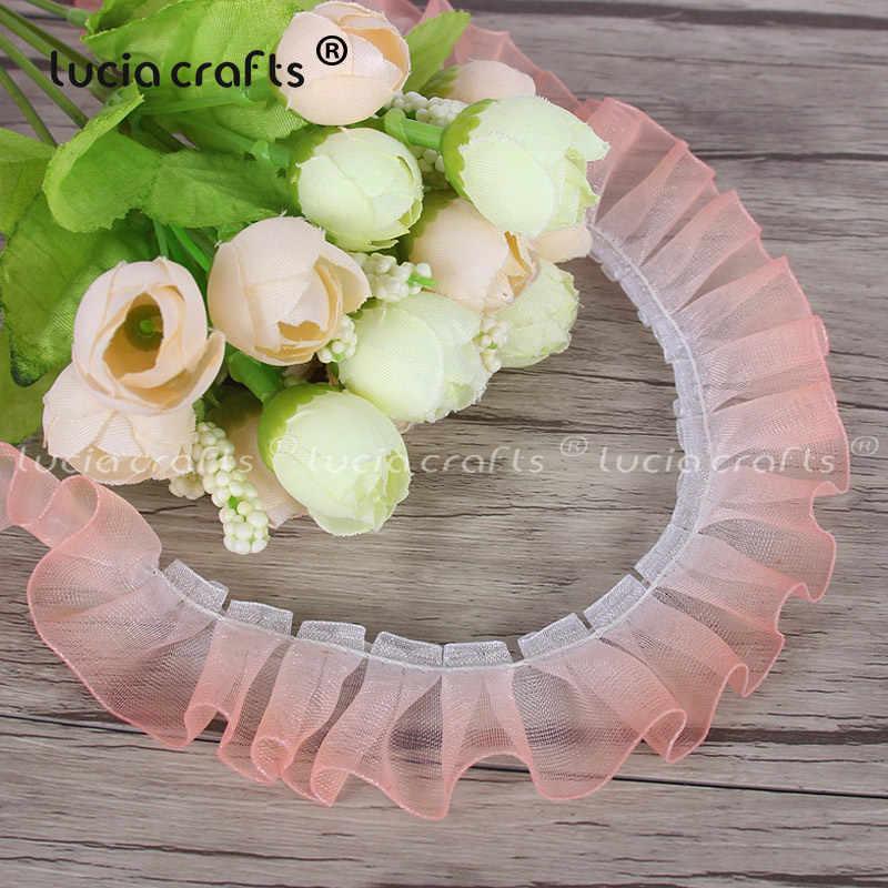 5 ярдов 25 мм шифон градиент плиссированные кружева рюшами края отделка ленты DIY платье одежда аппликация свадебные Швейные аксессуары X0306