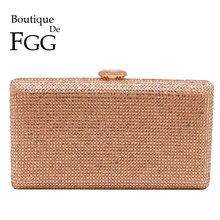 Boutique De FGG вечерние сумочки-клатчи со стразами цвета шампанского для женщин, сумочка для свадьбы, коктейля, ужина, дамские сумочки и кошельки