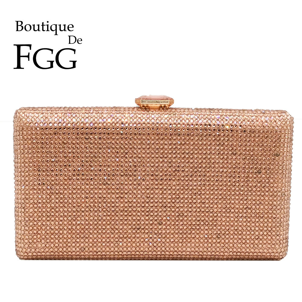 Boutique De FGG Champagne Crystal Clutch Evening Bags Women Minaudiere Bag Wedding Cocktail Dinner Ladies Handbags And Purses
