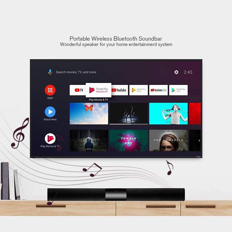 20W sans fil Bluetooth barre de son haut-parleur avec caisson de basses intégré 4 haut-parleur Surround barre de son 2.0 canal pour maison PC TV téléphone