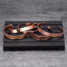 Bracelet en cuivre pur pour hommes, réglable, arthrite magnétique, aimants, manchette, énergie magnétique pour la santé, 6/8 pièces