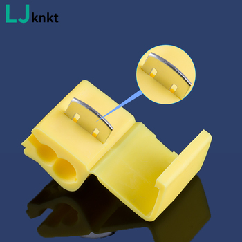 10/50Pcs yellow Lock Wire Cable Connectors Insulated Terminals Quick For Electrical Cable Snap Shape Quick Splice Car Kit Tool t shape snap quick splice lock cable wire electrical connector crimp kit scotch waterproof tool 60 100pcs electric set terminals