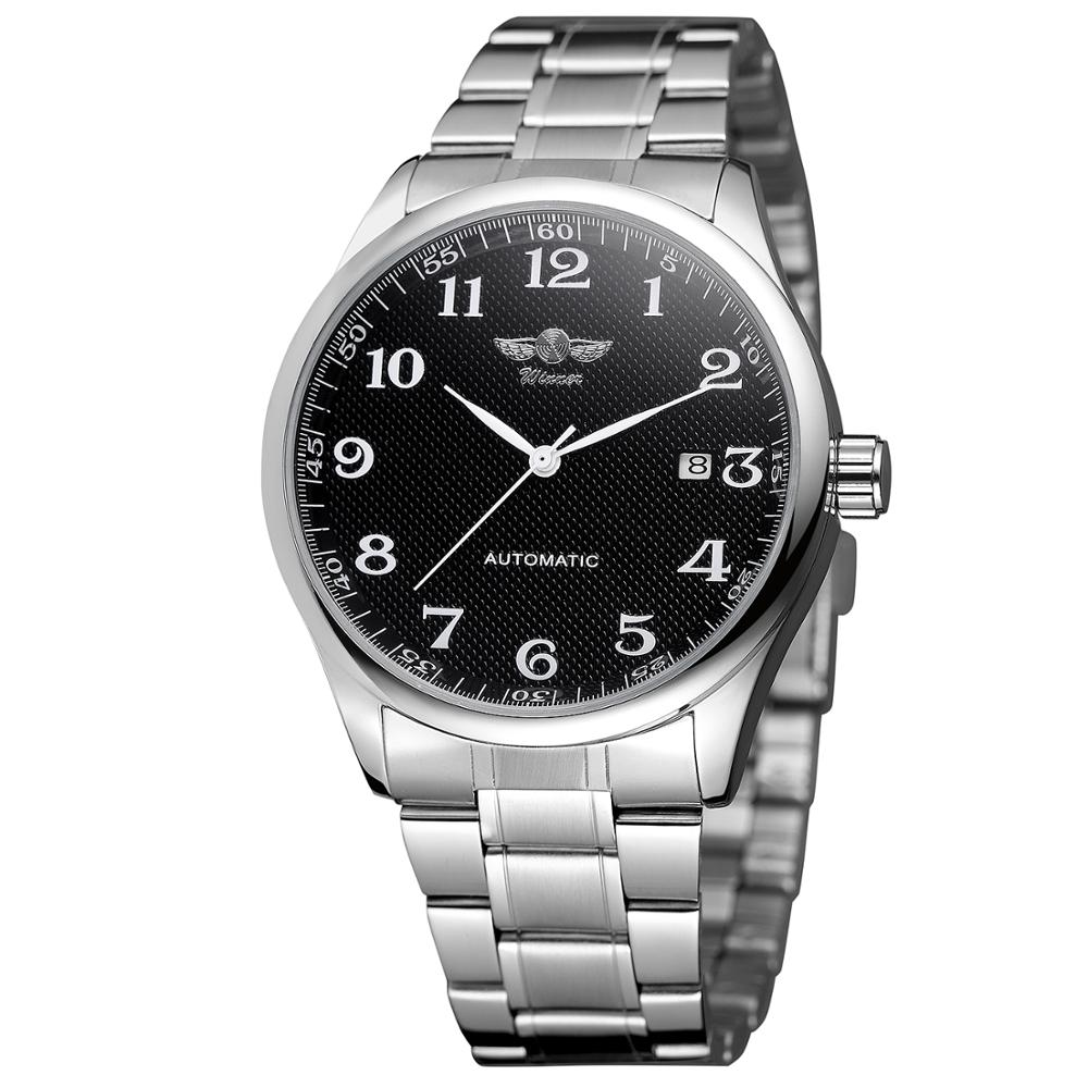 WINNER Fashion Simple  Men's And Women's Watch Stainless Steel Strap Black Dial Automatic Mechanical Watch