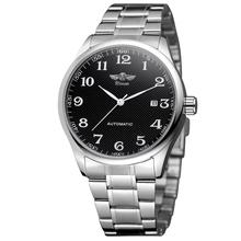 WINNER Fashion simple Men's and Women's Watch Stainless Steel Strap Black Dial A