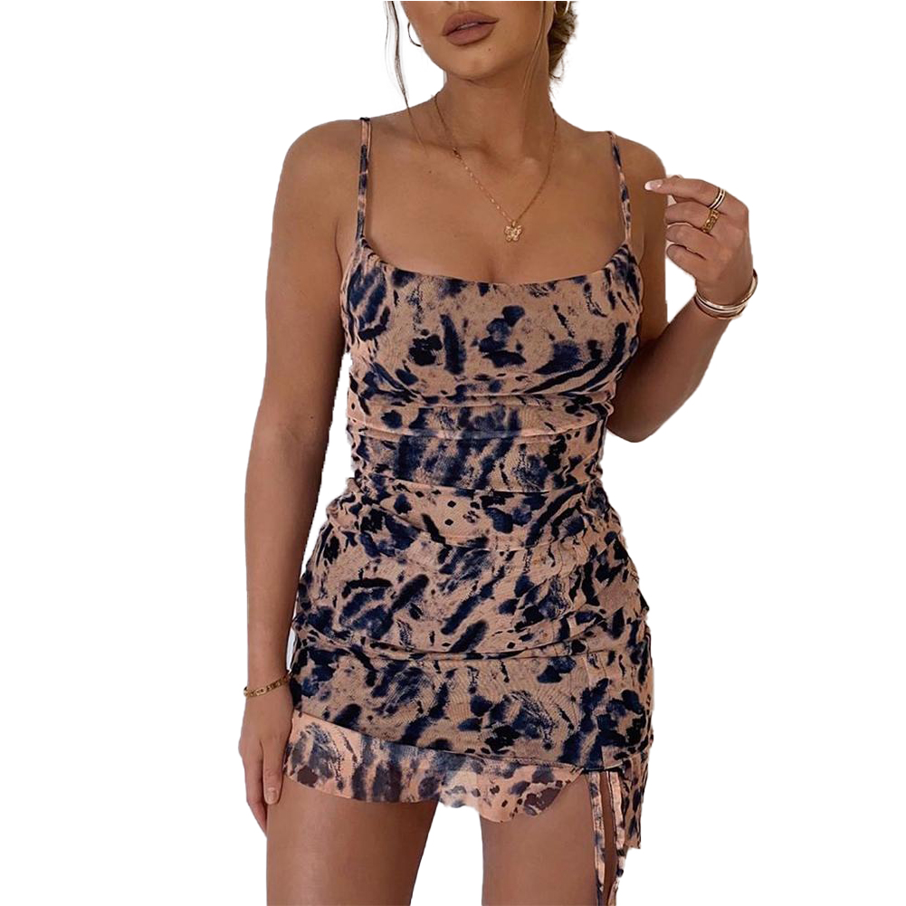 Women's Summer Dress Sleeveless Floral Print Lady Sheath Skinny Mini Dress