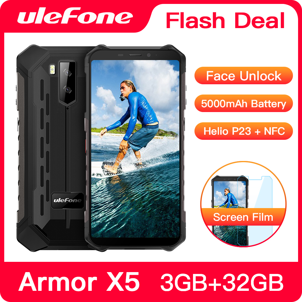 Ulefone Armor X5 Rugged Smartphone 32GB 3GB WCDMA/LTE/GSM NFC Octa Core Face Recognition