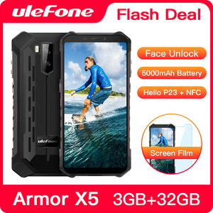 Ulefone Armor X5 Rugged Smartphone Android 9.0 Octa-core Helio P23 NFC IP68 3GB 32GB 5000mAh Cell Phone 4G Mobile Phone Android(China)