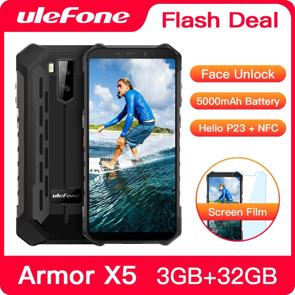 Ulefone Armor X5 Smartphone robuste Android 9.0 octa-core Helio P23 NFC IP68 3GB 32GB 5000mAh téléphone portable 4G téléphone portable Android