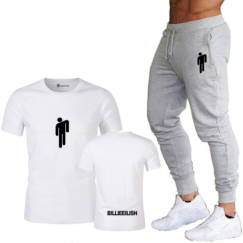 Billie Eilish Fashion Brand Clothing Men's Summer T-shirt + Pants Men's Suit Sportswear Men's Jogger Two-piece Fitness Suit