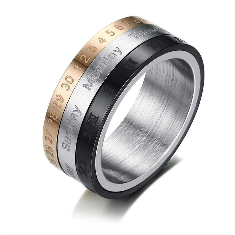 Vnox Вращающийся 3 части римские цифры календарь кольцо мужские ювелирные изделия из нержавеющей стали крутой панк Спиннер мужской Bijoux ремешок с датой время