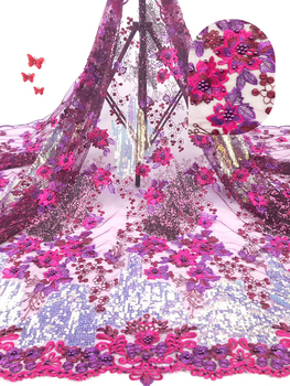 African lace fabric with sequins Nigeria lace fabric 2019 high quality lace material French lace fabric for women SZ0123