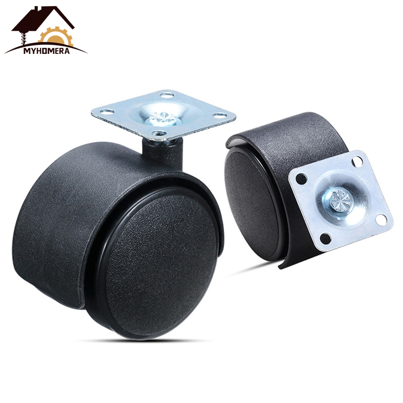 Myhomera Furniture Wheel Table Caster 30mm 40mm 48mm Plate without Brake Swivel Castor Wheels Replace Trolley Cart Roller Black