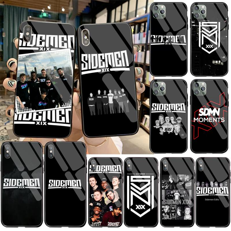 HPCHCJHM design Sidemen logo DIY Painted Phone Case Tempered Glass For iPhone 11 Pro XR XS MAX 8 X 7 6S 6 Plus SE 2020 case image