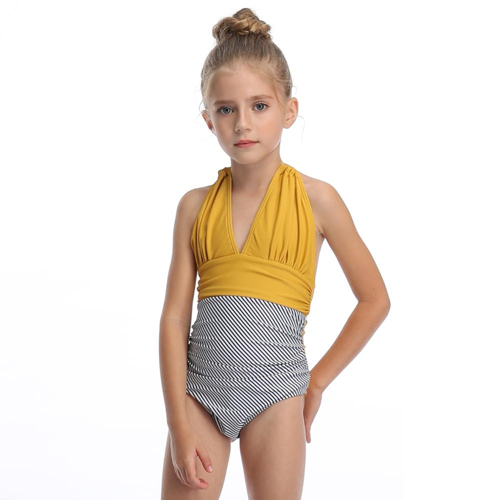 2020 Beautiful kid baby girl swimsuit one piece bikini striped high waist swimwear halter backless bathing suit for children image