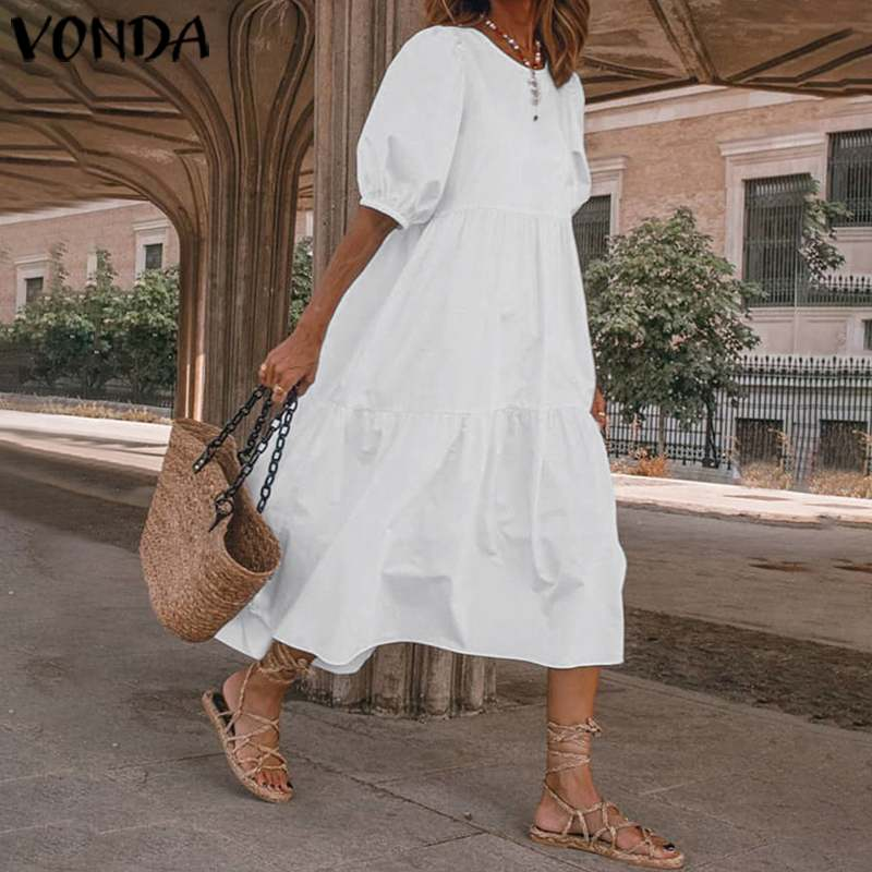 Summer Dress Vintage Sexy Lantern Sleeve Mid-Calf Dress VONDA 2020 Women' Sundress Casual Bohemian Beach Vestidos Plus Size