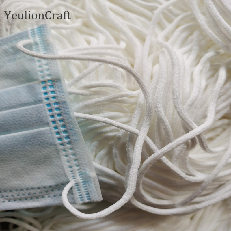 YeulionCraft Elastic Face Mask Band Mask Rope Rubber Band Tape Mask Ear Hanging Round Rope Cord 0.3cm For DIY Clothing Crafts