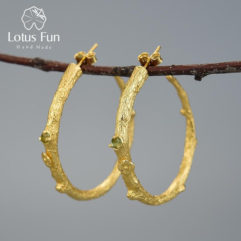 Lotus Fun Real 925 Sterling Silver Natural Peridot Original Handmade Fine Jewelry Vintage Fashion Hoop Earrings For Women Brinco