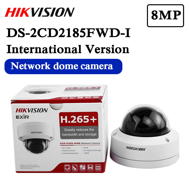 In stock english version Free shipping DS 2CD2185FWD I  8MP Network Dome Camera 120dB Wide Dynamic Range H.265 camerah.265 cameradome cameranetwork camera -