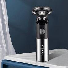 Máquina de afeitar eléctrica recargable con USB para hombre, recortador de barba, resistente al agua, cabeza 3D, seco, húmedo, pantalla LED, maquinilla de afeitar lavable