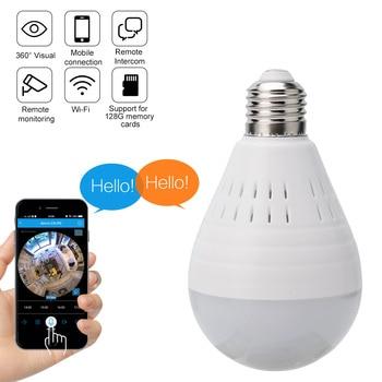 BORUiT 360 Degree LED Light 960P Wireless Panoramic Home Security WiFi Camera IP Night Vision Fisheye E27 Bulb Light Cam