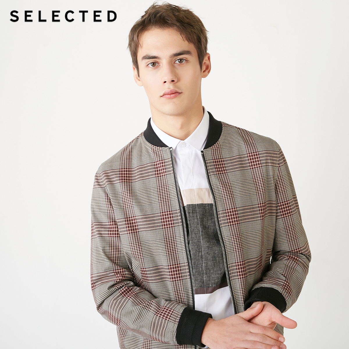 SELECTED Men's Spring Cotton Plaid Baseball Collar Jacket S|4191OM520