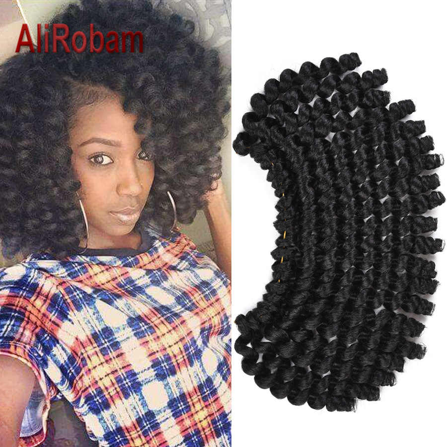 AliRobam 8Inch Short Synthetic Curly Hair Ombre Crochet Hair Extensions 20 Strands/pack Jamaican Bounce Wand Curl Braids Hair