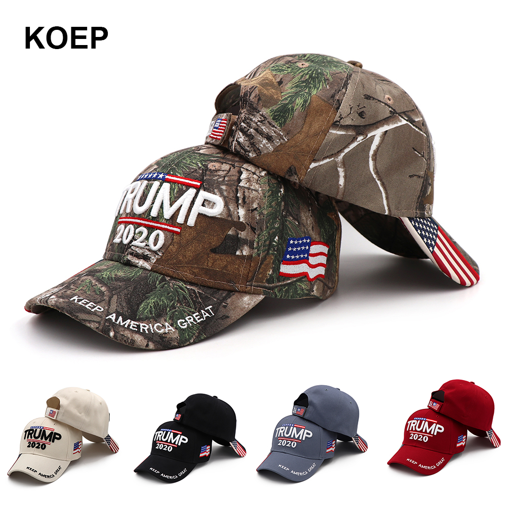 Donald Trump 2020 Cap Camouflage USA Flag Baseball Caps Keep America Great Again Snapback President Hat 3D Embroidery Wholesale(China)