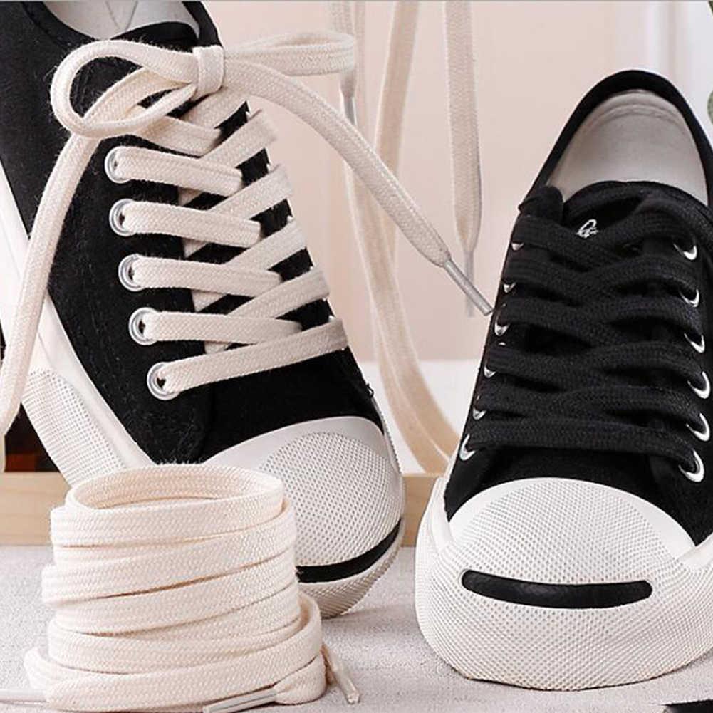 Katoen Schoenveters Dubbele Laag Zachte Platte Schoenveter Voor Sneaker Canvas Lederen Veters Zwart Wit Beige 100cm 120cm 140cm 160cm