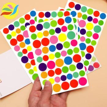 5Pcs/lot Colorful Circle Stickers Scrapbook Planner Memo Stationery DIY Diary Album Phone Kids Toy - discount item  35% OFF Stationery Sticker