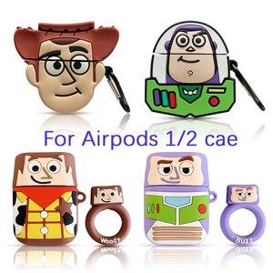 Милый 3d История игрушек мультфильма Базз Вуди Лайтер чехол для наушников Airpods 2 чехол силиконовый защитный чехол для Apple Airpods 1/2