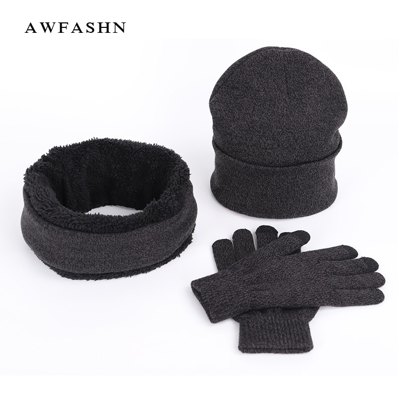 High Quality Hat Scarf Gloves Men's New Fashion Three-piece Winter Warm Quality Wool Hat Bib Gloves Men / Women Solid Color Wild