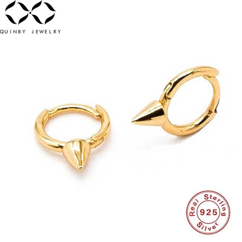 Quinby 925 pendientes de plata de ley para mujeres pendientes de hueso de oreja hombres pequeños pendientes de aro Punk gótico aros de oreja chica Mini aretes Q5
