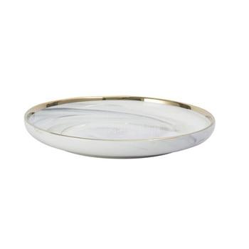 10PCS/Set 8 inch Marble Pattern Ceramic Dish Plate Gold Edge Nordic Europe Style Household Round Steak Dessert Dinner Plate