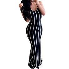 Fashion Women Summer Lace Up Bodycon Dress Sexy V-Neck Stripe Dress Black Sleeveless Backless Maxi Dress sexy jewel neck backless sleeveless black dress for women